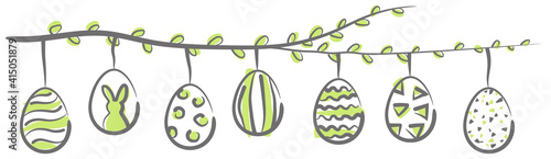 Tablou Canvas Easter eggs hanging on a blooming branch vector illustration