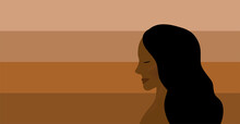 Black Lives Matter Flag Concept. Different Skin Color Shades. Diversity And Equality Demonstration.  Strong Brown Skin Woman.
