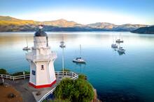 Akaroa South Island New Zealand Bay And Lighthouse