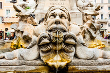 Italy, Rome. Piazza Della Rotunda, Close-up Of Fontana Del Pantheon.