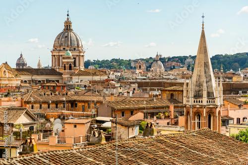 Fotografering Italy, Rome. St Peter's dome from Viale della Trinita dei Monti.