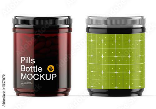 Fototapeta Amber Pills Bottle Mockup obraz