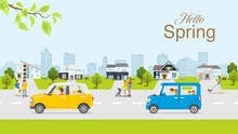 """People And Car In The Residential Area, Springtime Townscape - Included Greeting Word """"Hello Spring"""""""