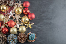 Mix Of Colorful Oak Tree Ornaments On A Dark Background