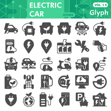 Electric Car Solid Icon Set, Electric Vehicle Symbols Collection Or Sketches. Eco Transport Glyph Style Signs For Web And App. Vector Graphics Isolated On White Background.