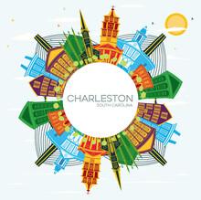 Charleston South Carolina City Skyline With Color Buildings, Blue Sky And Copy Space.