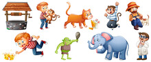 Set Of Different Nursery Rhyme Character Isolated On White Background