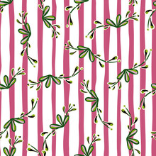 Seamless Creative Botay Pattern With Green Random Floral Branches Print. Pink And White Striped Background.