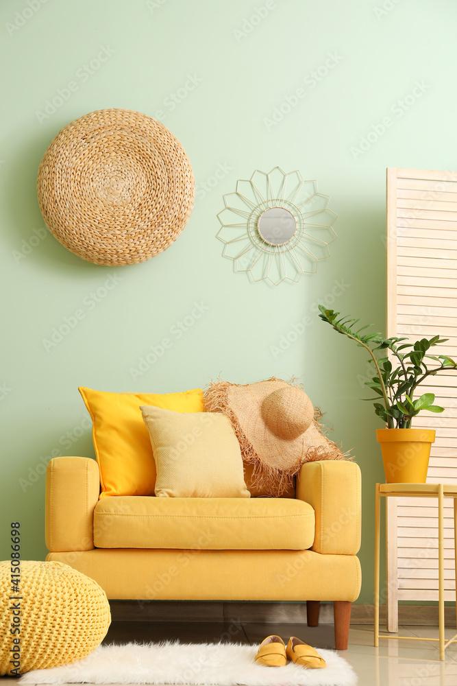 Fototapeta Interior of modern living room with stylish armchair