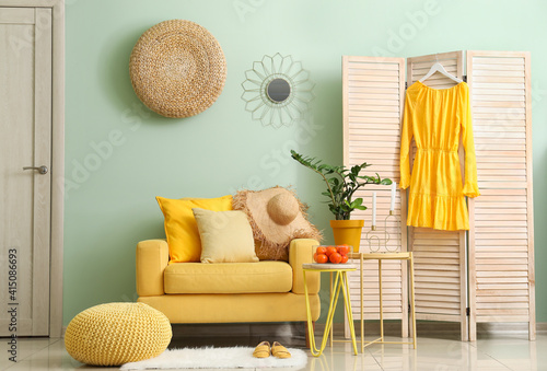 Fototapeta Interior of modern living room with stylish armchair obraz