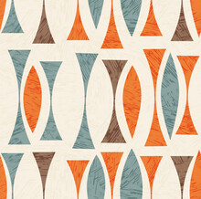 Seamless Abstract Mid Century Modern Pattern. Retro Design Of Geometric Shapes. Use For Backgrounds, Fabric Design, Wrapping Paper, Scrapbooks And Covers. Vector Illustration.
