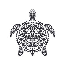 Turtle In Tribal Polynesian Tattoo Style. Turtle Shell Mask. Maori And Polynesian Culture Pattern. Isolated. Vector Illustration.