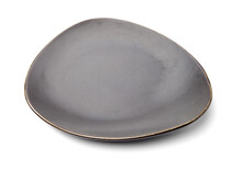 Empty Earthenware Plate On White Background