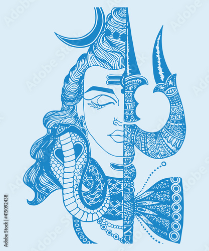 Fotografia Sketch of Indian famous and powerful god Lord Shiva and his symbols outline, sil