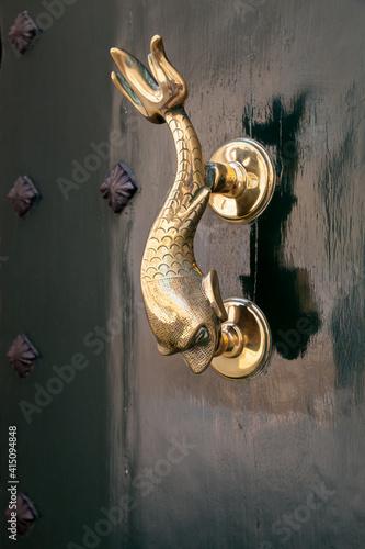 Fototapeta Vintage door handle in shape of dolphin, Malta obraz
