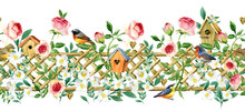 Seamless Pattern With Blossom Garden Flowers And Birds