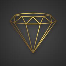 Luxury Gold Diamond Isolated. Vector Line Logo