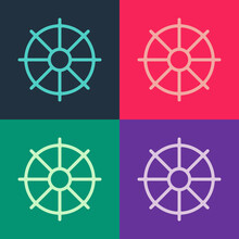 Pop Art Dharma Wheel Icon Isolated On Color Background. Buddhism Religion Sign. Dharmachakra Symbol. Vector.