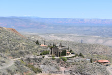 Historic Hotel On The Hillside In The Old Mining Town Of Jerome, Arizona