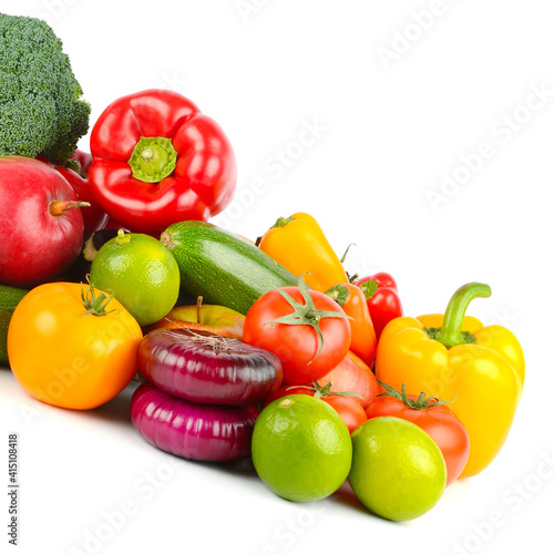 Useful and fresh vegetables and fruits isolated on white © Serghei Velusceac