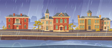 Rain And Wind In Old Town With Retro European Buildings And Lake Promenade. Vector Cartoon Rainy Cityscape With Vintage Architecture, Stone Road, Empty River Quay And Gloomy Sky