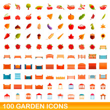 100 Garden Icons Set. Cartoon Illustration Of 100 Garden Icons Vector Set Isolated On White Background