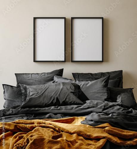 Fototapeta Mock up frame in bedroom interior background, nomadic room with natural wooden furniture, 3d render obraz