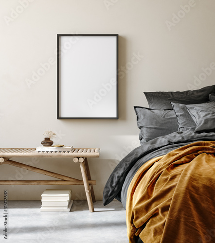 Mock up frame in bedroom interior background, nomadic room with natural wooden furniture, 3d render