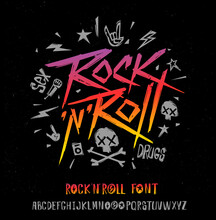 Rock N Roll Grunge Style Type Font  And Poster Vector Template. Set Of Rock'n'roll Music Logo And Vintage Style Font Alphabet For Print Stump Tee And Poster Design. Rock Music Hand Drawn Lettering