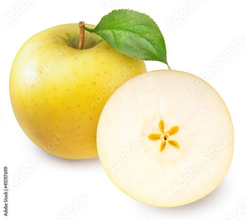 Yellow apple with leaves isolated on white background, Yellow Orin Apples on white background With clipping path Fototapeta