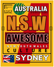 Awesome Australia, Vector Typography Graphic Design For Print