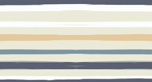 Orange, Brown Lines Seamless Summer Pattern, Vector Watercolor Sailor Stripes. Retro Vintage Grunge Fabric Fashion Design Horizontal Brushstrokes. Simple Painted Ink Trace, Geometric Cool Autumn Print