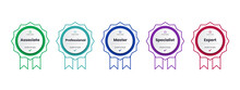 Certified Badge Logo Design For Company Training Badge Certificates To Determine Based On Criteria. Set Bundle Certify Colorful With Ribbon Vector Illustration.