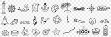Sailing And Nautical Equipment Doodle Set. Collection Of Hand Drawn Lighthouse Anchor Compass Sailors Bottle Ships Boats Bell Seashells Pipe Island Palms Rope Isolated On Transparent Background