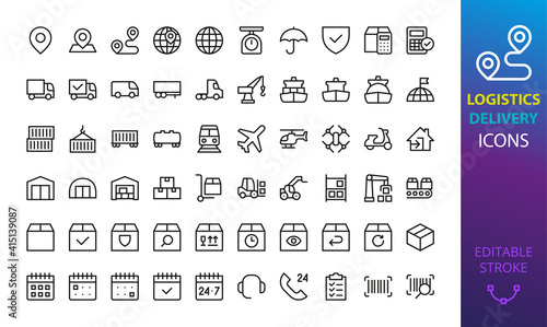 Fotografie, Obraz Logistic, delivery and shipping isolated icon set