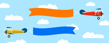 Plane With Banner In Flat Style. Biplane Flying With Poster. Vector
