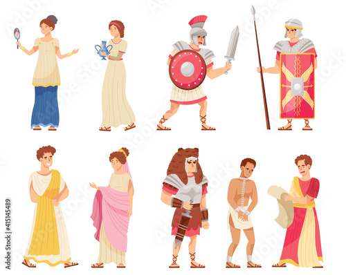 Fotografia Romans Man and Woman in Traditional Ethnic Clothing with Warrior and Emperor Vec