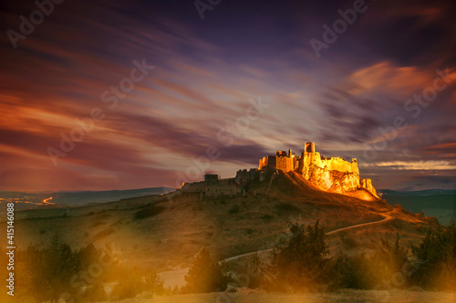 Spis castle, Unesco World Heritage Site. Slovakia. Sunset