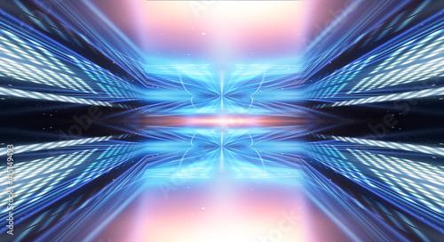 Fotografia, Obraz Tunnel in blue neon light, underground passage