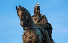 Seagull Sits On The Head Of The Statue Giuseppe Garibaldi Italian Hero And Patriot In Rome