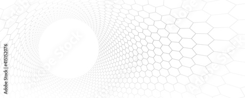 Technology and science vector background, tech abstraction with hexagons mesh electronics and digital style in 3D dimensional perspective, abstract illustration. - fototapety na wymiar