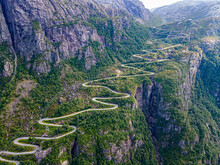 Zigzag Road Leading Down To Lysebodn, At The End Of Lystrefjord (Lysefjord), Rogaland