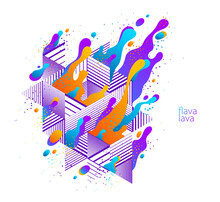 Abstract Colorful Lava Fluids Vector Illustration With Geometric Lines, Bubble Gradients Shapes In Motion, Artistic Background Graphic Element, Dynamic Modern Art Liquid Forms Flowing.