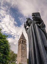 The Statue Of The Gregory Of Nin With The Chapel Of The Holy Arnir In The Background, Split, Croatia