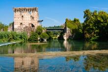 Bridge Of Visconti Family Dating From 1393, Valeggio Sul Mincio, River Mincio, Verona Province, Veneto