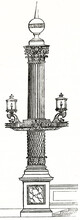 Isolated Vertical Rostral Column In Place De La Concorde, Paris, Lamp Equipped And Decorated With Accuracy. Ancient Grey Tone Etching Style Art By Unidentified Author, Magasin Pittoresque, 1838