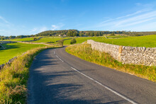 View Of Dry Stone Walls On Country Lane, Foolow, Derbyshire Peak District, Derbyshire
