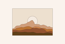 Vector Illustration In Simple Line Style - Boho Abstract Print - Simple Natural Landscape With Mountains And Hills