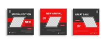 Set Of Editable Minimal Square Banner Template. Red Black Background Color With Geometric Shapes For Social Media Post And Web Internet Ads. Vector Illustration