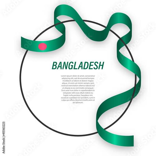 Fototapeta Waving ribbon flag of Bangladesh on circle frame